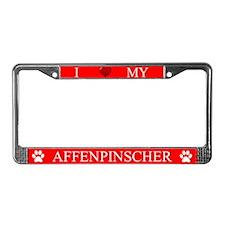 Red I Love My Affenpinscher License Plate Frame