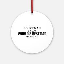 World's Best Dad - Policeman Ornament (Round)