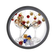 Cheerful Wine Glasses Wall Clock