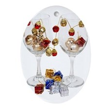 Cheerful Wine Glasses Ornament (Oval)