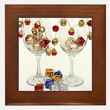 Cheerful Wine Glasses Framed Tile