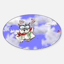 cartoon Sky diving dog Sticker (Oval)
