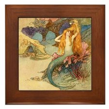 Vintage Mermaid Framed Tile