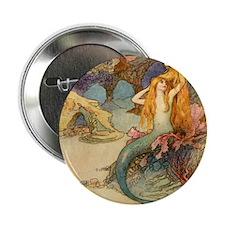 "Vintage Mermaid 2.25"" Button"