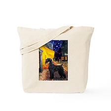 Cafe & Giant Schnauzer Tote Bag