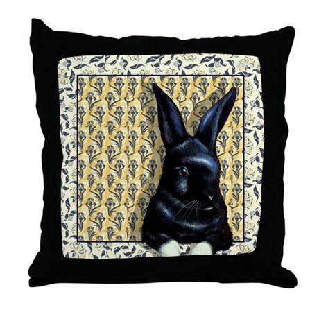 Cute Black Bunny Throw Pillow by artbymelodylamb