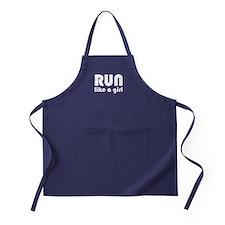 Cute Run like a girl Apron (dark)