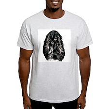 Black Afghan Hound Portrait Ash Grey T-Shirt