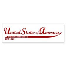 Red USA: One Nation Under God Bumper Sticker