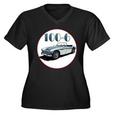 The 100-6 Women's Plus Size V-Neck Dark T-Shirt