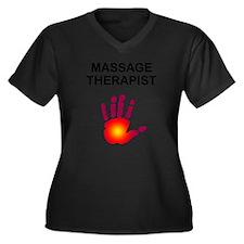 Massage Therapist Women's Plus Size V-Neck Dark T-