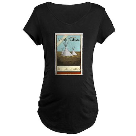 Travel North Dakota Maternity Dark T-Shirt