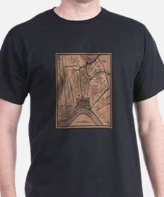 Old Map New Orleans Black T-Shirt