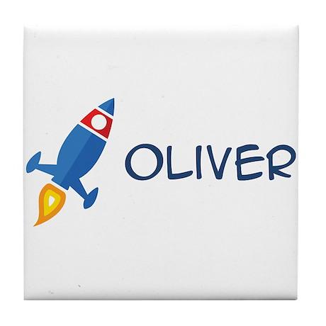 Oliver Rocket Ship Tile Coaster
