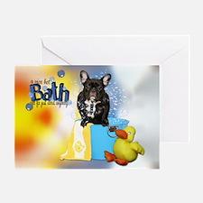 Hot Bath French Bulldog Greeting Card