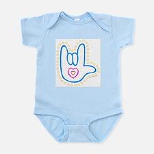 Blue Dotty Love Hand Infant Creeper