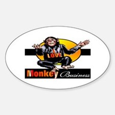Love Monkey Business Oval Decal