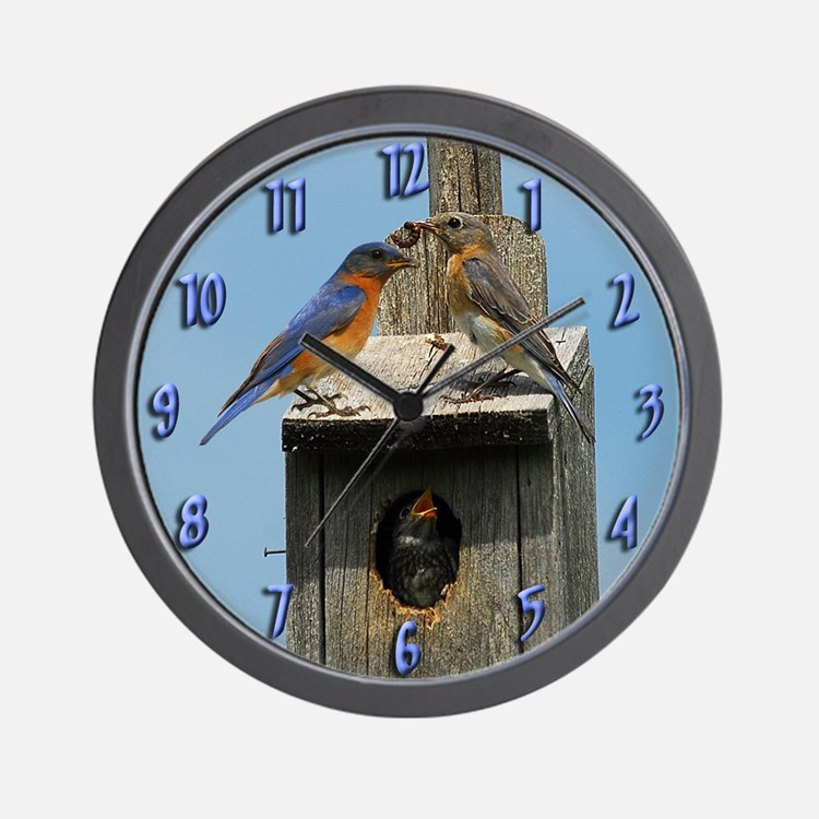 Bluebird Family Wall Clock