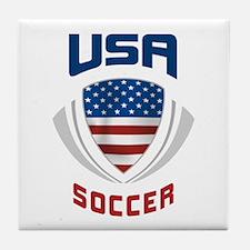 Soccer Crest USA blue Tile Coaster