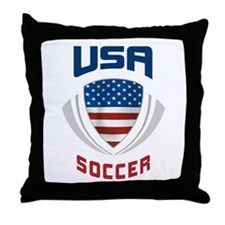 Soccer Crest USA blue Throw Pillow