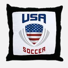 Soccer Crest USA blue Throw Pillow