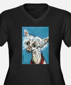 Portrait of a Chinese Crested Women's Plus Size V-