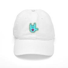 Aqua Dotty Love Hand Baseball Cap