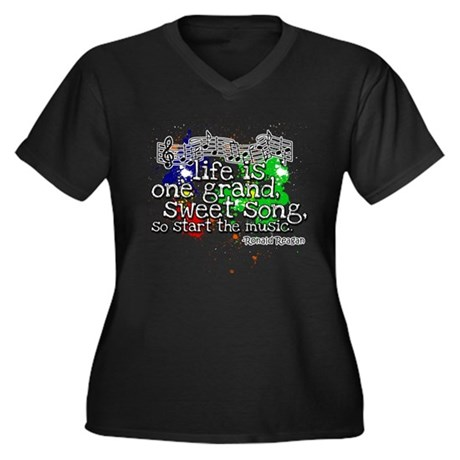 Life is a Song Women's Plus Size V-Neck Dark T-Shi