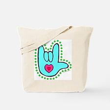 Aqua Dotty Love Hand Tote Bag