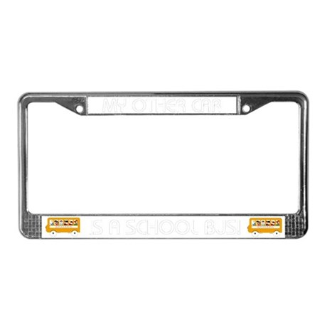 my other car is a school bus license plate frame by lorilei. Black Bedroom Furniture Sets. Home Design Ideas