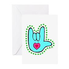Aqua Dotty Love Hand Greeting Cards (Pk of 10)
