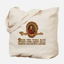 Ben Franklin on Security and Tote Bag