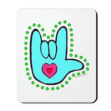 Aqua Dotty Love Hand Mousepad