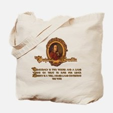 Franklin on Two Wolves and a Tote Bag