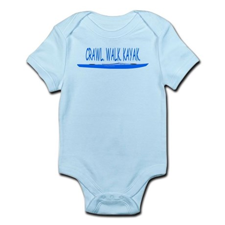 Crawl, Walk, Kayak(Blue) Infant Bodysuit