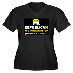 Republican Working Hard Women's Plus Size V-Neck D