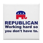 Republican Working Hard Tile Coaster