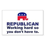 Republican Working Hard Sticker (Rectangle)
