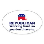 Republican Working Hard Sticker (Oval)