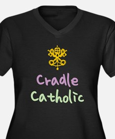 Cradle Catholic Women's Plus Size V-Neck Dark T-Sh