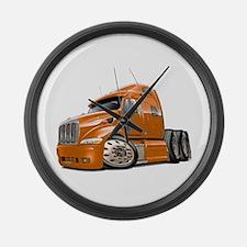 Peterbilt 587 Orange Truck Large Wall Clock