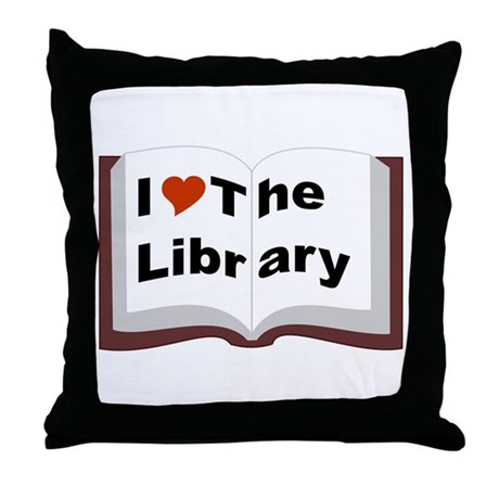 I Love The Library Throw Pillow