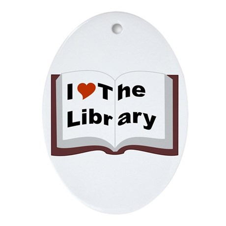 I Love The Library Ornament (Oval)