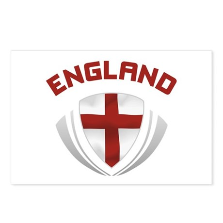 Soccer Crest ENGLAND red / grey Postcards (Package