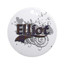 Elliot Tartan Grunge Ornament (Round)