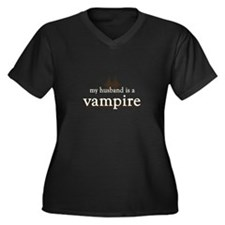 Husband Vampire Women's Plus Size V-Neck Dark T-Sh