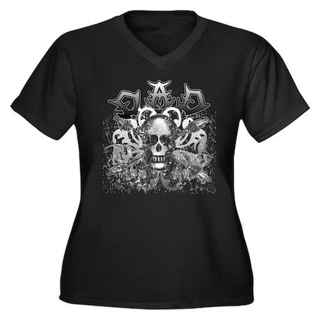 Grunge with Skull Dad's Day Women's Plus Size V-Ne