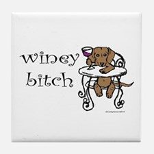 Winey Dachshund Tile Coaster