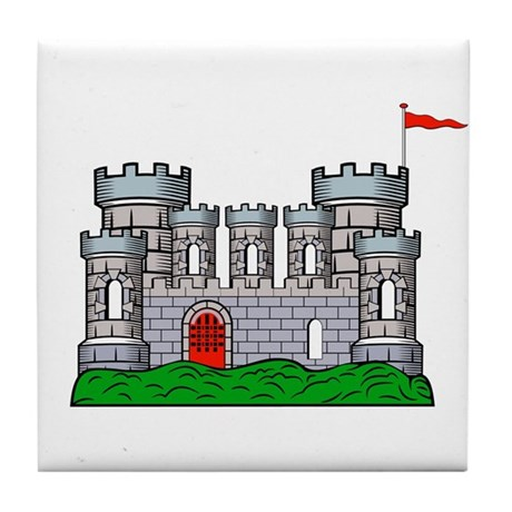 Fantasy medieval castle Tile Coaster