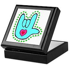 Aqua Dotty Love Hand Keepsake Box